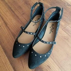 Self Esteem Black Suede Studded Pointy Flats 7.5
